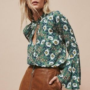 Free People Tops - Free People Green Floral Bell Sleeve Button Tunic